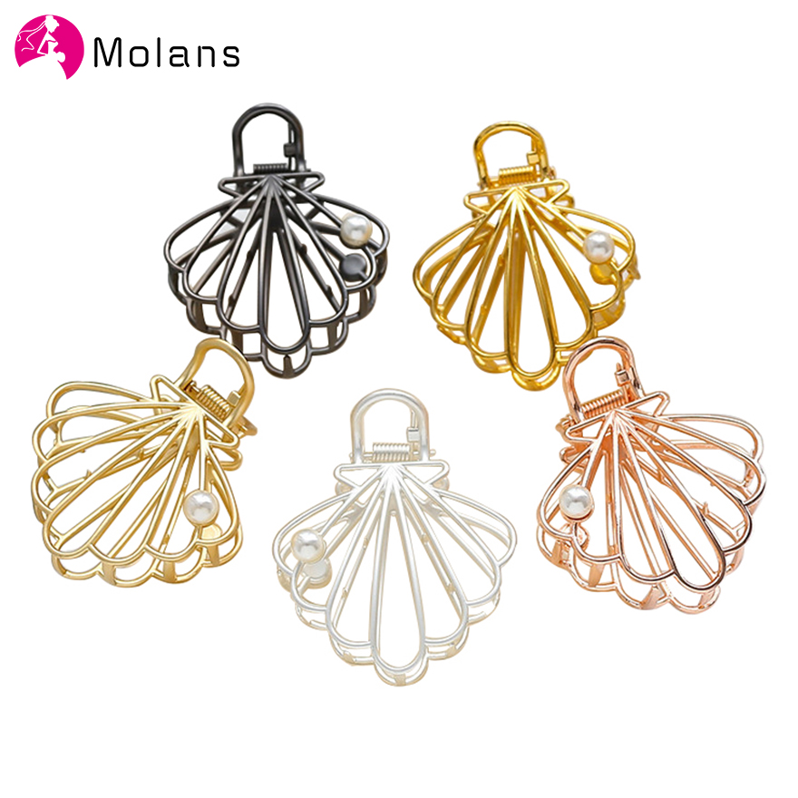 Molans Fashion Shell Metal Hair Claws For Women Gold Hollow Alloy Pearl Hairpins Claw Washing  Shower Hair Holder Grab Clips