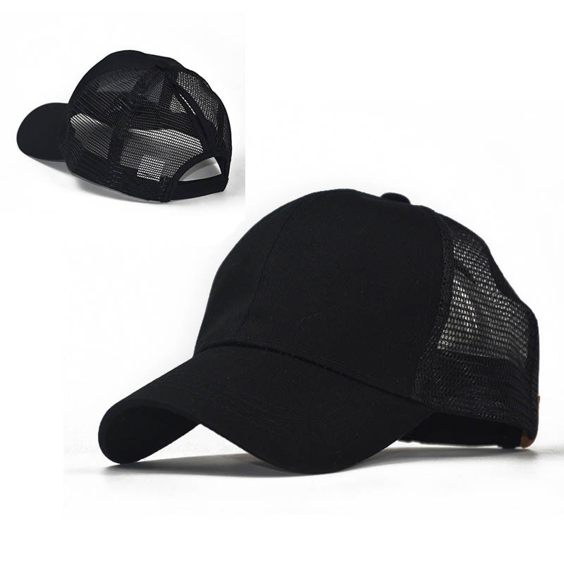 2019 New Rear Opening Ponytail Cap, Mesh Cap, Ladies Cotton Bone Baseball Cap, Dad Cap