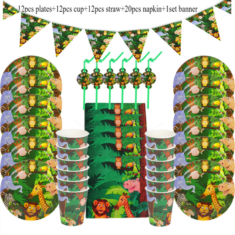 Cartoon Jungle Animal Disposable Party Tableware Sets Kids Birthday Safari Party Decor Baby Shower Forest Theme Party Supplies