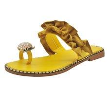 SAGACE terlik kadın kızlar inci düz bohem stili günlük sandalet terlik kadınlar plaj ayakkabısı sandalet kadın kristal dekorasyon