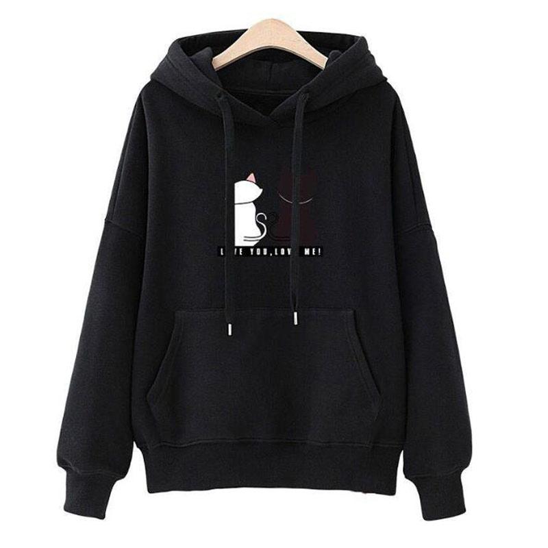 Cat 2019 Women's Sweatshirt Printed Fleece Hoodie New 2019 Autumn Winter Hoodies Women Sweatshirts Felpe Donna