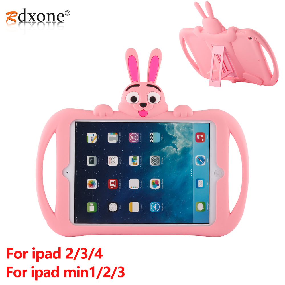 For IPad 2 3 4 Case Kids Shockproof Tablet Case For Apple IPad Mini 1 2 3 Case Cover Cute Cartoon Silicon Shell