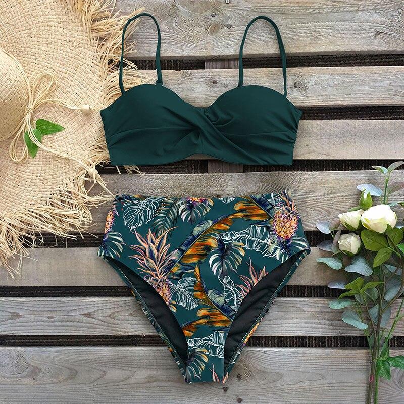2020 Sexy Leaf Print Bikini Female Swimsuit Women Swimwear Thong Push Up Bikinis Set High Waist Swimming Suits For Bathing Suit