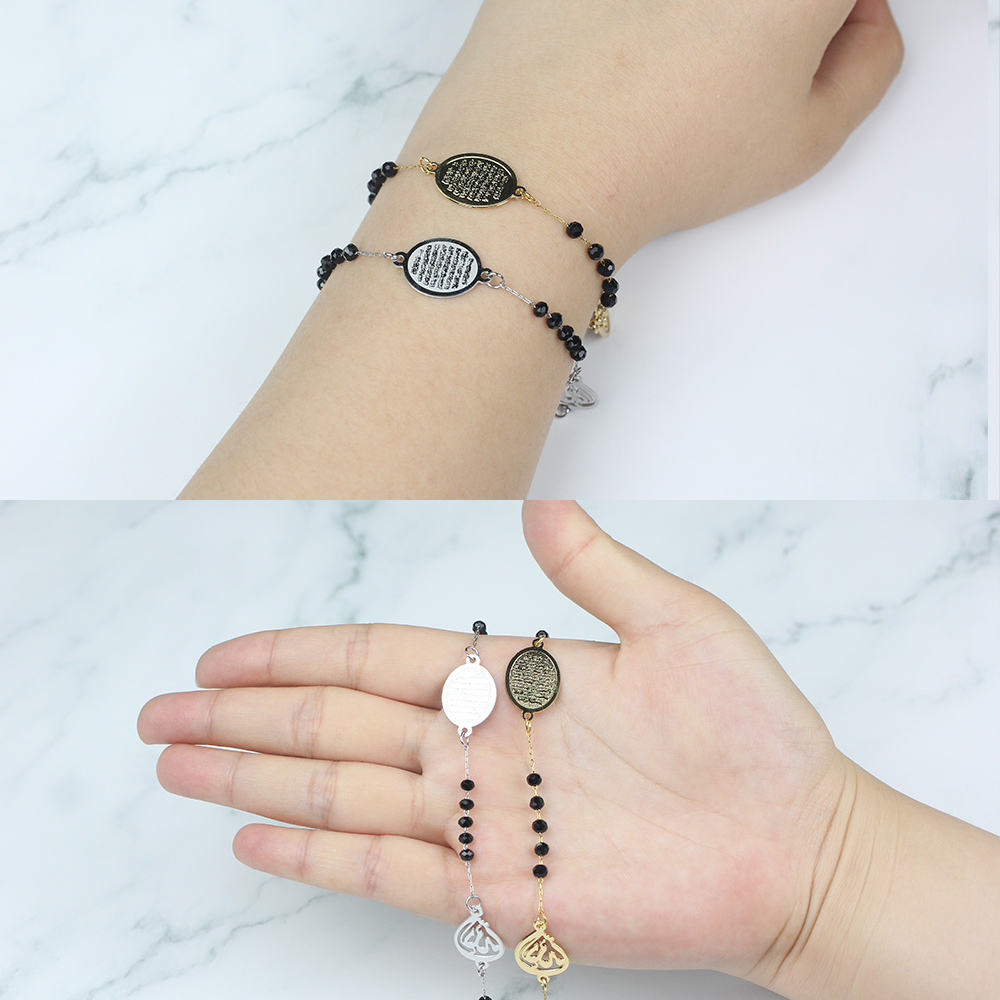 FINE4U B201 Stainless Steel Muslim Arabic Charms Bracelet Black Color Faceted Glass Beads Bracelets For Islam Rosary Jewelry