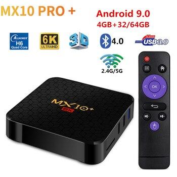 MX10 Plus 6K Smart Android 9.0 TV Box Allwinner H6 4GB 64GB 2.4G/5G Wifi BT4.0 UHD 4K Media Player Set Top PK Pro
