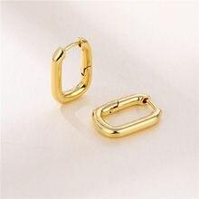 Female Dainty Geometric Square Hoop Earrings Vintage Gold Color Small Earrings For Women Wedding Jewelry Fashion Bride Earrings