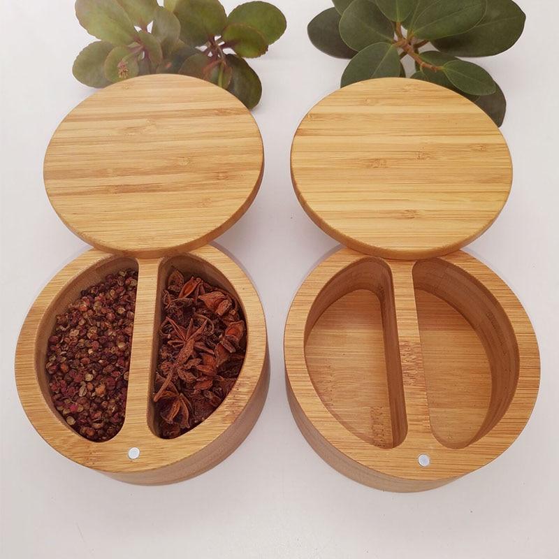 Spice Jar Wooden Round Natural Bamboo Salt Box Container Modern Kitchen Storage Case With Magnet Lid Herb Spice Tools Salt Box