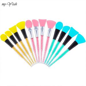 Image 1 - 3 Colors 12 Styles Silicone Rhinestone Handle Makeup Brush Face Mud Facial Mask Stirring Mixing Soft Mask Brush Cosmetic Tools