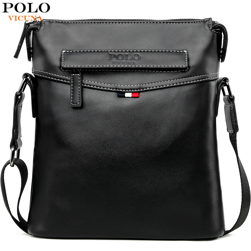 VICUNA POLO Man Pure Color Classic Balck Men Messenger Bag Soft Leather Men's Crossbody Bag Casual Travel Shoulder Bag For Male