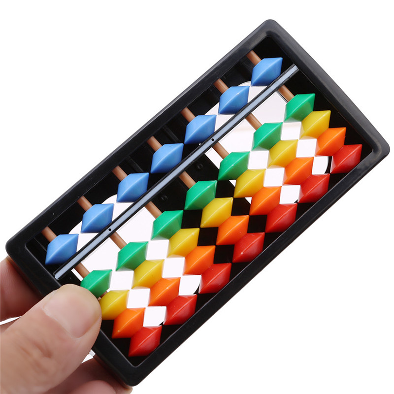 Plastic Abacus Arithmetic 7 Digits Kids Maths Calculating Tools Chinese Abacus Toys Abacus Educational Small Size 1x6cm