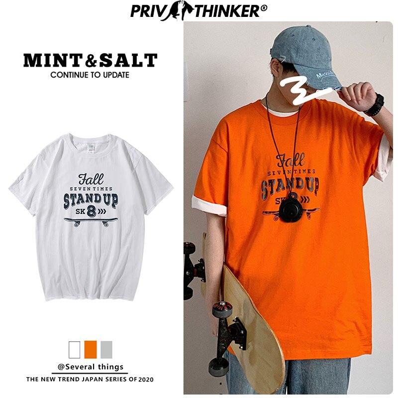 Privathinker Men Retra Harajuku T Shirt 2020 Summer Mens Korean Fashions Funny Top Tshirts Couple Japanese Streetwear Clothing