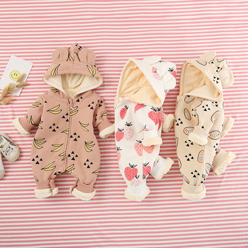 Baby Clothes Pure Cotton Fruit Rompers Long Sleeve Autumn And Winter Style Baby Body Wear Clothes Kids Warm Climbing Clothing