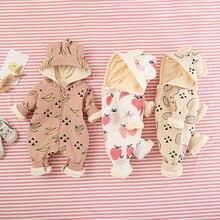 Ropa de algodón puro para bebé, mono de frutas, manga larga, estilo otoño e invierno, ropa para bebé, ropa cálida para escalada