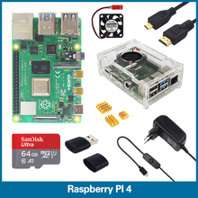 S ROBOT Raspberry Pi 4 Model B 1/2/4GB RAM + Case + Fan + Heat Sink + Power Adapter + 64 GB SD Card + HDMI Cable for RPI 4B RPI2 raspberry pi 3 model b nespi case plus 2 wireless gamepad 32gb sd card 3a power adapter fan heat sink for retropie