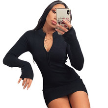 New Fashion Women Ladies Winter Spring Dresses Bodycon Knitted Sweater Jumper Long Sleeve Mini Dress Top Knitwear Black Orange(China)