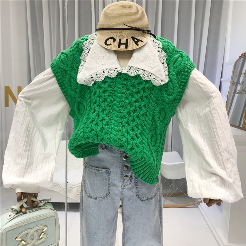 Fashion Womens Vest 2019 Fall Orange V Neck Solid Casual Vest Women Knitted Women 39 s Demi season Jackets green in Vests amp Waistcoats from Women 39 s Clothing