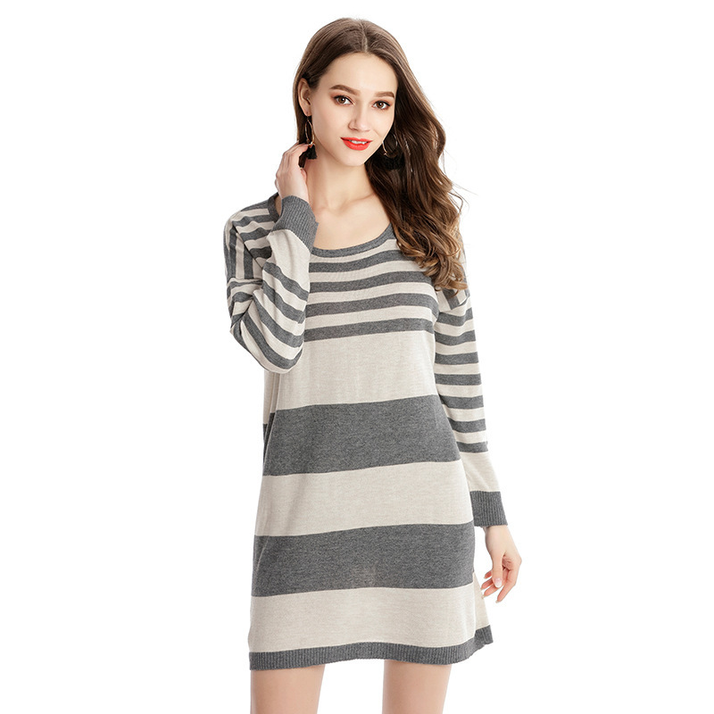 Fashion Striped Women Pullover Sweater Dress Long Sleeve O-Neck Casual Knitted Dress Ladies Autumn Winter Streetwear Pull Femme