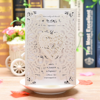 New 20Pcs Pearl Paper Laser Cut Chinese Wedding Invitation Cards with Blank Inner Sheet Greeting Card Kits Event Party Supplies