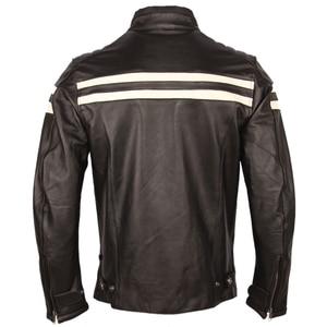 Image 5 - オートバイの革のジャケット男性 100% 本物の牛革革natrualスキンコートの男性スリムフィット爆撃機バイカーレザージャケットコート秋M218