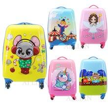 18 дюймов дети мультфильм путешествия чемодан на колесиках возить на Роллинг багажа детские подарок тележка для багажа сумка 16