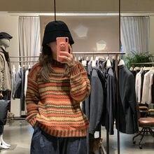 Kobiet wokół szyi, Retro długi-sweter z rękawami Student fala nosić dzianinowy Top koreański, jesienny zima ciepły w paski swetry ML144