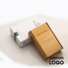 Лазерной гравировкой логотипа тонкой сигареты Чехол Коробка для табака по индивидуальному заказу, подарок, учитывающий индивидуальные осо...