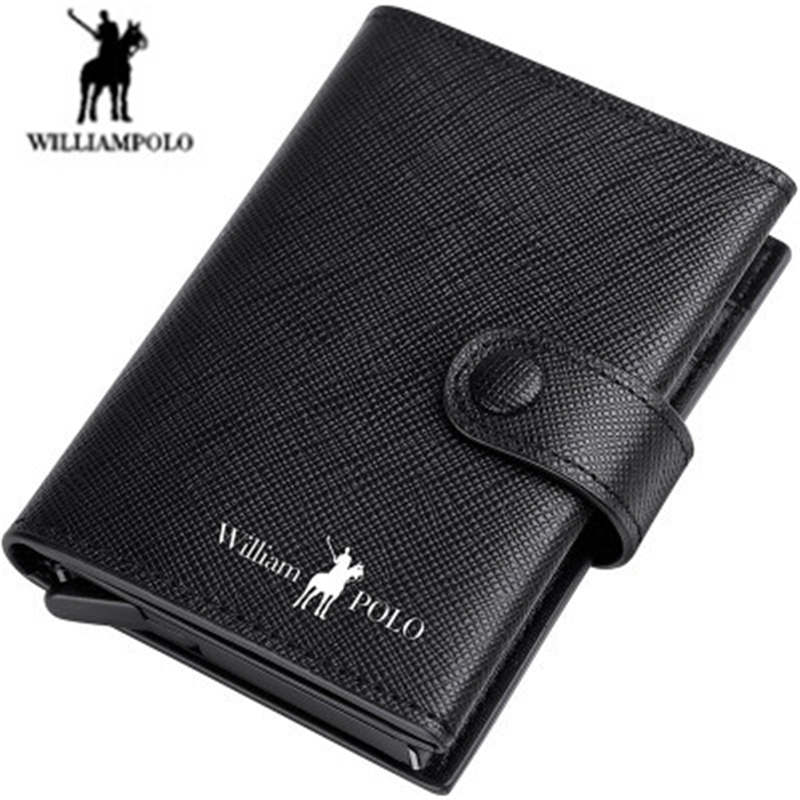 Williampolo RFID Wallet men's leather 12 card card package large capacity anti-degauss card ultra-thin wallet men card holder Ms