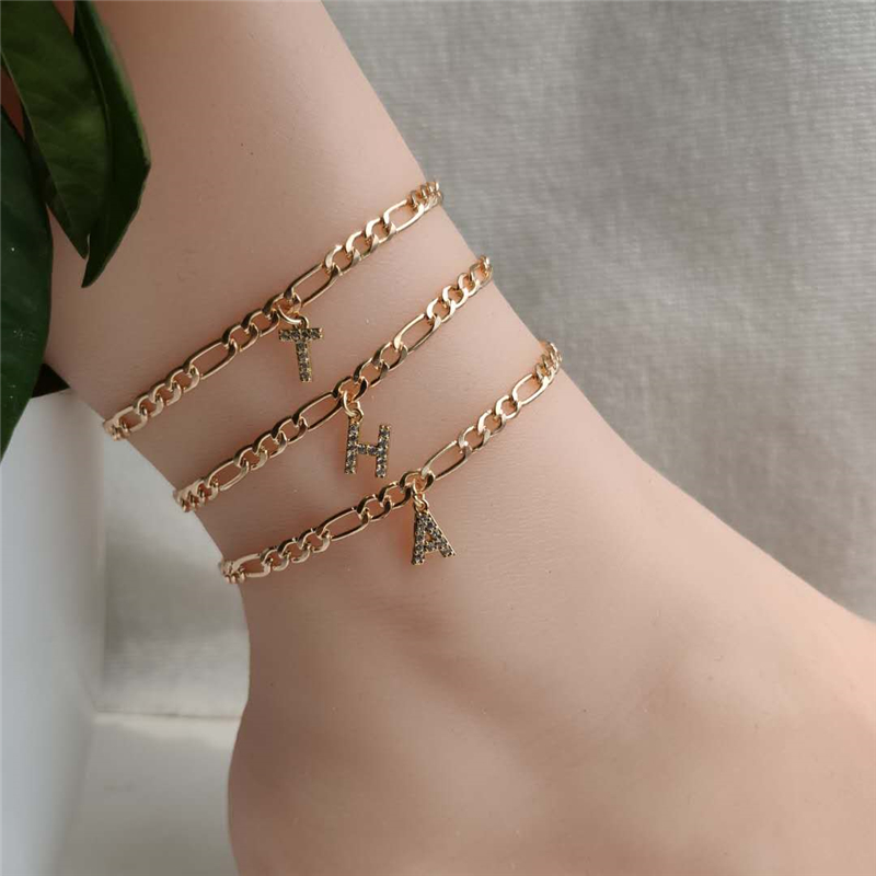 Fashion Crystal A-Z Alphabet Anklets for Women Letter Leg Chain Gold Color Ankle Bracelet Foot Boho Beach Jewelry Initial Anklet