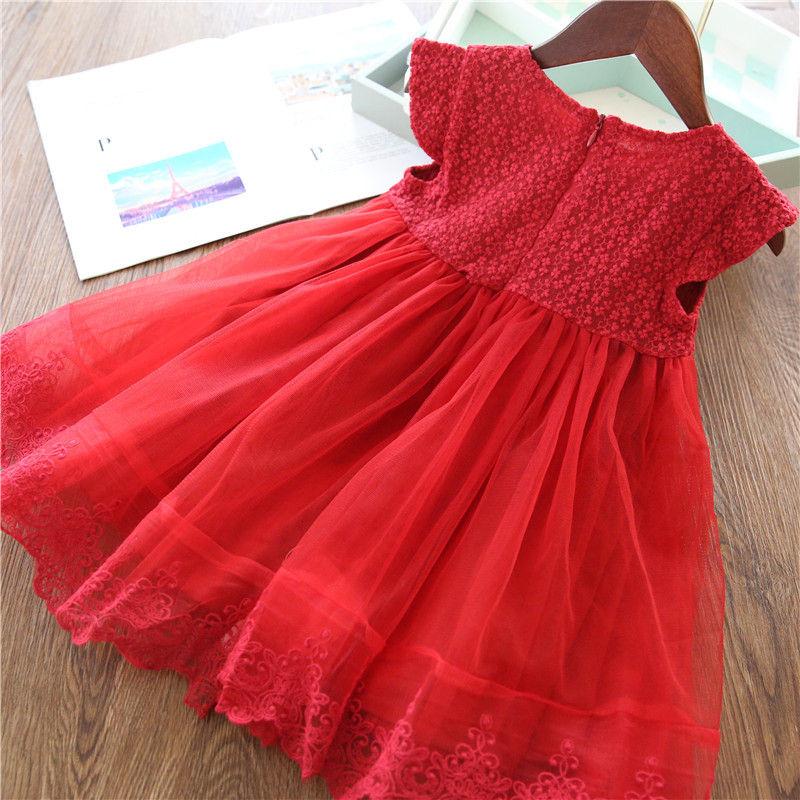Image 3 - Red Kids Dresses For Girls Flower Lace Tulle Dress Wedding Little Girl Ceremony Party Birthday Dress Children Autumn ClothingDresses   -