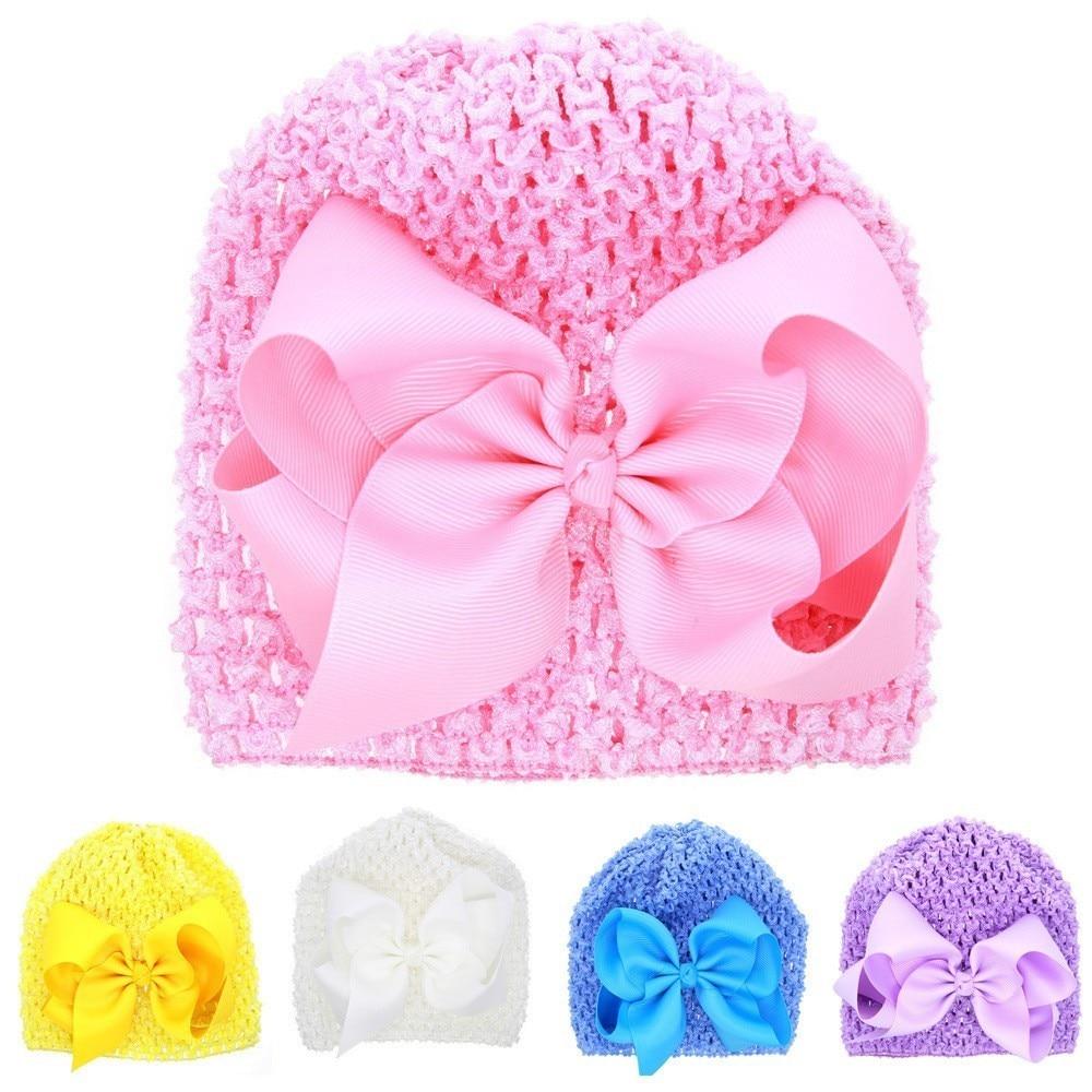 MAYA STEPAN 1 Pieces New FashionBow Hollow Baby Girls Hat Newborn Elastic Baby Turban Hats For Girls Cotton Infant Beanie Cap