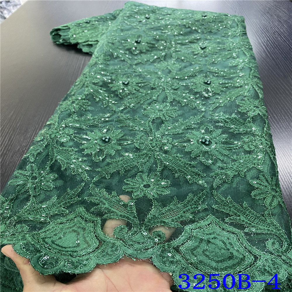 New African Fabric Lace 2020 French Net Laces Nigerian Embroidery Tulle Fabrics Lace With Beads Sequins For Party KS3250B