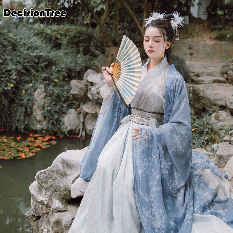 2020 Embroidery Hanfu Women Blue Classical Dance Costume Singer Festival Outfit Fairy Dress Rave Performance Clothes Set