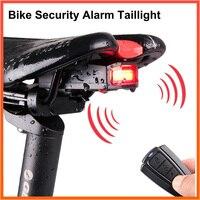 Luz trasera para bicicleta alarma antirrobo carga USB inalámbrico Control remoto alarma luz de carga para bicicleta