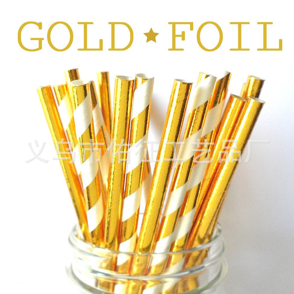 Metallic Gold Golden Silver Foil Paper Straws Bronzing Silver Paper Sucker