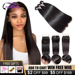 Клюквенные волосы бразильские прямые волосы 3 пряди с закрытием Remy бразильские человеческие волосы пряди с закрытием средней длины коричне...