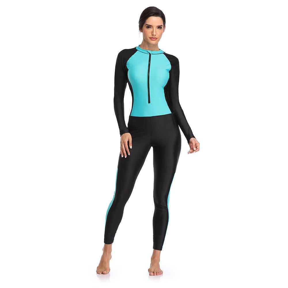 נשים של אחד-חתיכה מול רוכסן בגד ים לגלוש לשחות רטוב חליפה ארוך שרוול Rashguard הגנה מפני שמש