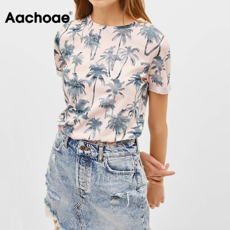 2020 New Floral Print T Shirt Women Summer Short Sleeve Basic Pink Tshirt Casual Beach Style Ladies Tunic Tops Camiseta Mujer