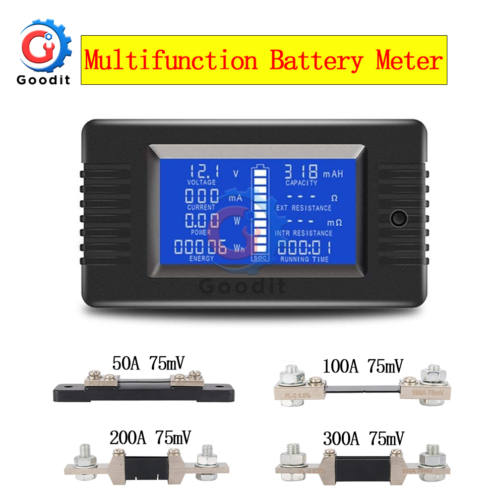 PZEM-015 0-200v 0-300A Digital Ammeter Voltmeter Energy Meter Car Battery Capacity Tester With 50A 100A 200A 300A 75mV Shunt