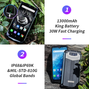 Image 3 - Blackview BV9100 IP68 Rugged 6.3 FHD+ 13000mAh Smartphone 4GB 64GB Helio P35 Octa Core Android9.0 Mobile Phone 30W Fast Charge
