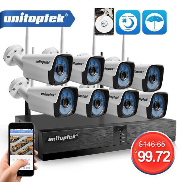 4CH 8CH 1080P Kit NVR inalámbrico sistema de cámaras de seguridad para el hogar 1.0MP 2MP HD Video vigilancia CCTV sistema de cámara exterior wi fi NVR