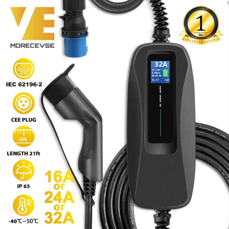 Type 2 EV Charger Level 2 32 Amp Portable Electric Vehicle Charger, CEE Plug 220V-240V Car Charging Cable, IEC 62196-2