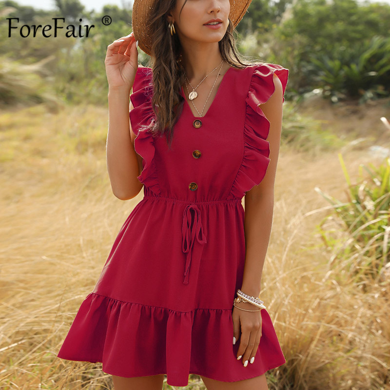Forefair Ruffle Summer Dress Woman Casual Short Sleeve Fashion Solid Waisted Tunic Sexy Mini Dress Women
