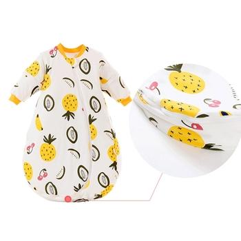 Śpiwór dla dziecka z długi z odpinanym kapturem rękawy jesień zima ciepłe miękkie nadające się do noszenia koc bawełna bielizna nocna niemowlę maluch samochód zabawka tanie i dobre opinie Unisex W wieku 0-6m CN (pochodzenie) Sleepsacks Polka dot baby