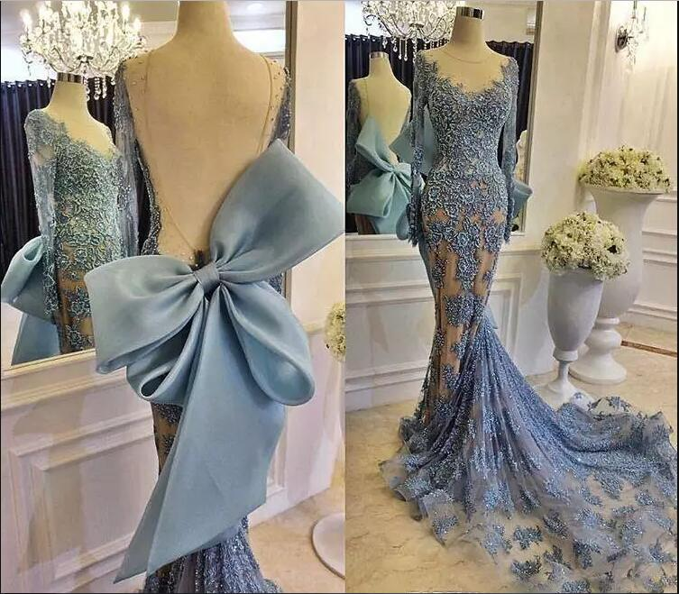 Sexy Backless Mermaid Formal Evening Dress Long Sleeves Lace Applique Big Bow Pageant Prom Party Gown Custom Made Robe De Soiree