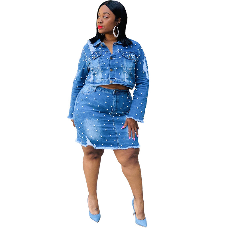 Plus Size Womens Denim Skirt Set Bead Two Piece Sets Long Sleeve Coat Bag Hips Skirt Casual Outfits Wholesale Dropshipping
