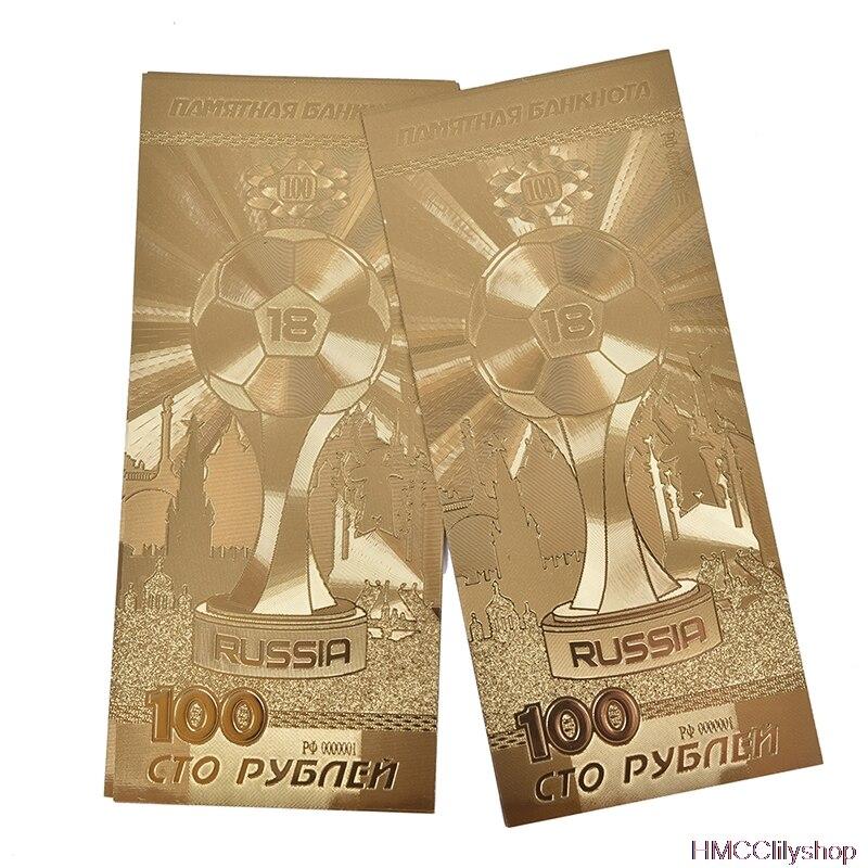 2 шт. банкноты чемпионата мира в России, бумажные поделки из золотой фольги