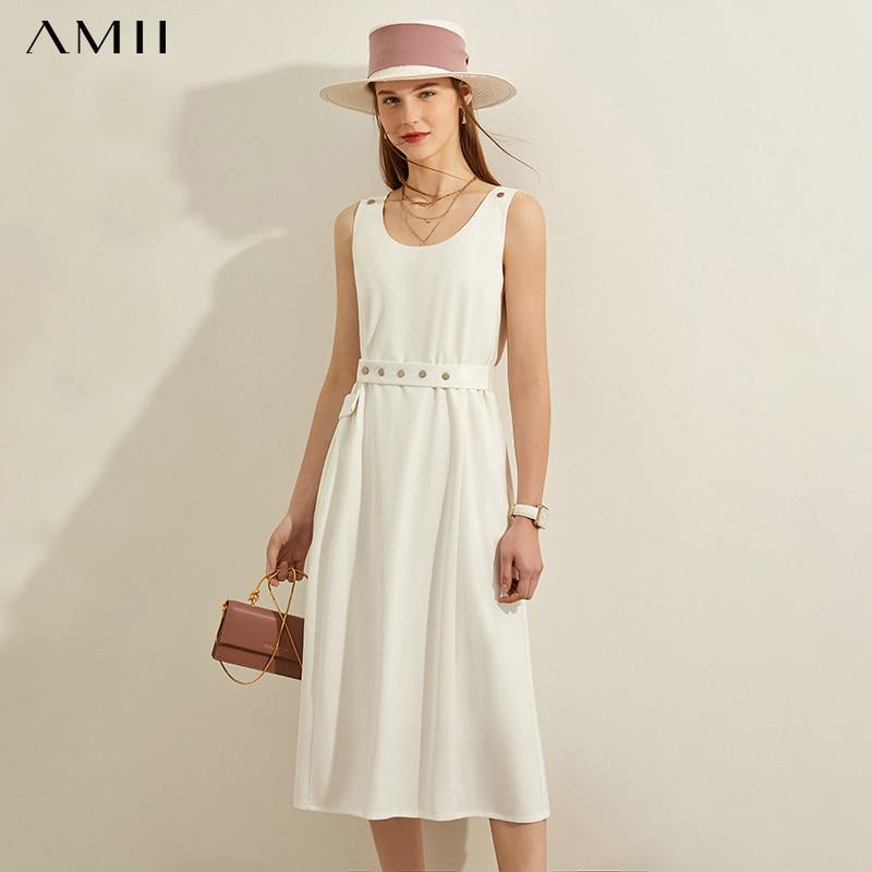 AMII минимализм весна лето солидное модное свободное женское платье повседневное платье без рукавов длиной до колена 12040241|Платья|   | АлиЭкспресс