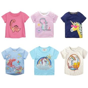 Wholesale Summer Girls T-Shirt Girl Stripe Dinosaur For Baby Kids Cotton Cute Children T Shirts Boy Tops