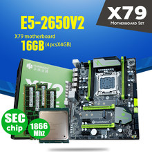 HUANANZHI X79 マザーボード LGA2011 ATX コンボ E5 2650 V2 CPU 4 個の x 4 ギガバイト = 16 ギガバイト DDR3 RAM 1866Mhz PC3 1490R PCI-E NVME M.2 SSD(China)