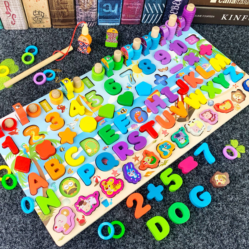 Montessori de madeira brinquedos para crianças ocupado placa matemática pesca contagem figuras geométricas correspondência placa educacional crianças brinquedo presente